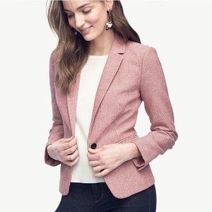 Ann Taylor Rose Pink Tweed Single Button Blazer